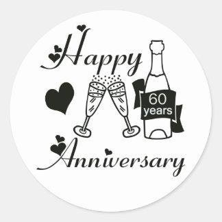 60th. Anniversary Classic Round Sticker