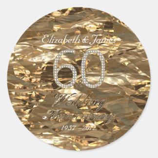 60th Anniversary Diamond Wedding Anniversary Classic Round Sticker