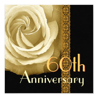 60th Anniversary Invitation - GOLD Rose
