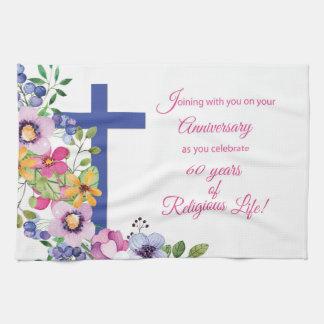 60th Anniversary, Nun, Religious Life Cross Kitchen Towel