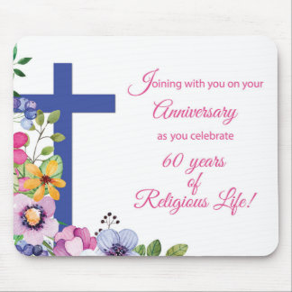 60th Anniversary, Nun, Religious Life Cross Mouse Pad
