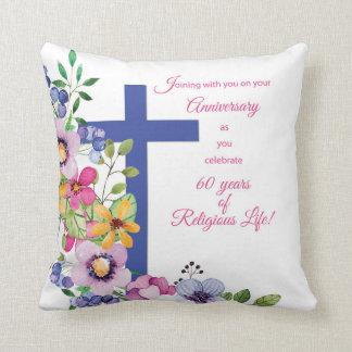 60th Anniversary, Nun, Religious Life Cross Throw Pillow
