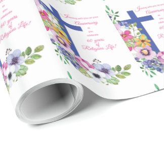 60th Anniversary, Nun, Religious Life Cross Wrapping Paper