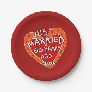 60th Anniversary or Any Year Fun Red Heart Party Paper Plate