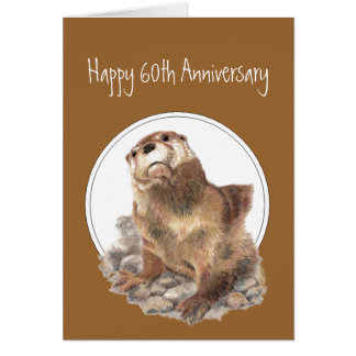 60th Anniversary Otter Be Proud, Congrats Greeting Card
