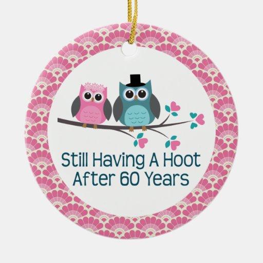 60th Anniversary Owl Wedding Anniversaries Gift Christmas Ornaments