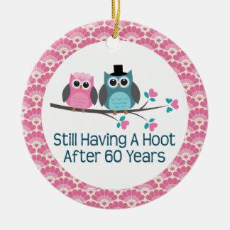 60th Anniversary Owl Wedding Anniversaries Gift Round Ceramic Ornament