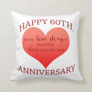 60th. Anniversary Throw Pillow