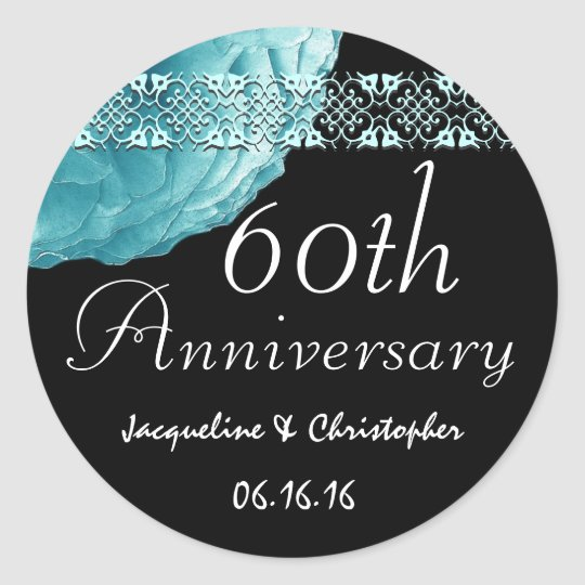 60th Anniversary TURQUOISE Rose Sticker