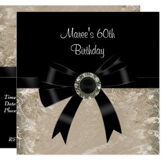 60th Antique Paper Black Diamond Jewel Bow Card