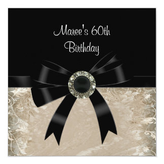 60th Antique Paper Black Diamond Jewel Bow Card