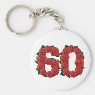 60th basic round button keychain
