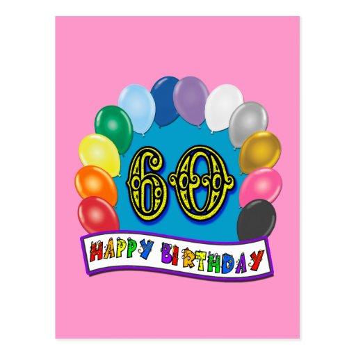 60th Birthday Balloons Happy Birthday Card Postcards