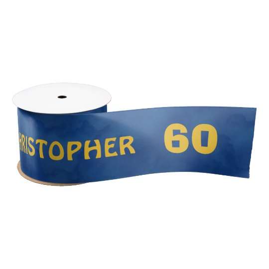 60th Birthday Blue Gold For Him Grunge Text A01Z Satin Ribbon