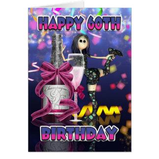 60th Birthday Card - Champagne Rag Doll