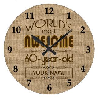 60th Birthday Celebration World Best Fabulous Large Clock