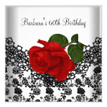"60th Birthday Damask Lace Black White RED Rose 5.25"" Square Invitation Card"