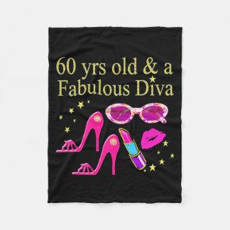 60TH BIRTHDAY DAZZLING DIVA DESIGN FLEECE BLANKET