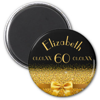 60th birthday elegant gold bow with sparkle black 2 inch round magnet