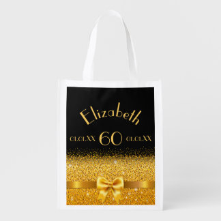 60th birthday elegant shining gold bow on black reusable grocery bag
