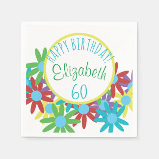 60th Birthday Floral Personalized Disposable Napkins