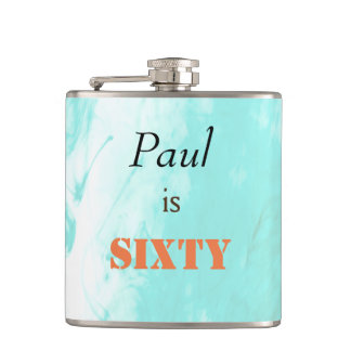 60th Birthday hip flask in blue and orange.