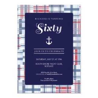 60th Birthday Invitation - Sixty Nautical Custom