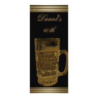 "60th Birthday Mens Sepia Gold Cold Drinks Man 4"" X 9.25"" Invitation Card"