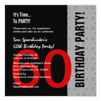 60th Birthday Modern Red Silver Black Funny W1471 Card
