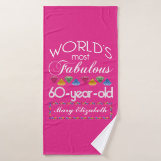 60th Birthday Most Fabulous Colorful Gems Pink Bath Towel