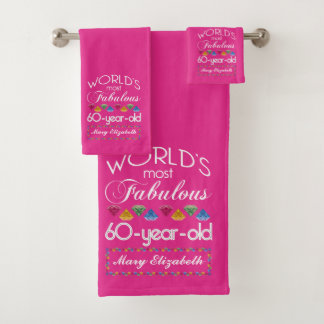 60th Birthday Most Fabulous Colorful Gems Pink Bath Towel Set