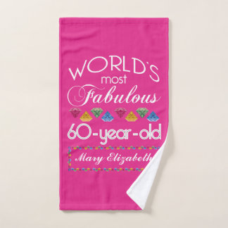 60th Birthday Most Fabulous Colorful Gems Pink Hand Towel