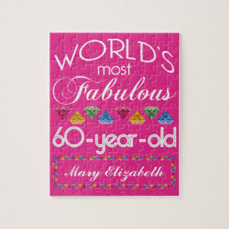 60th Birthday Most Fabulous Colorful Gems Pink Jigsaw Puzzle