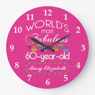 60th Birthday Most Fabulous Colorful Gems Pink Large Clock