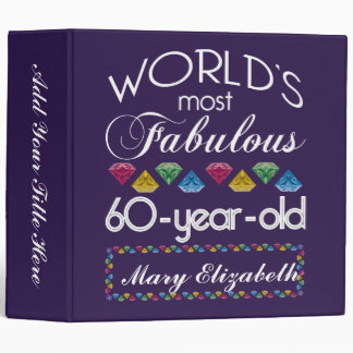 60th Birthday Most Fabulous Colorful Gems Purple 3 Ring Binder