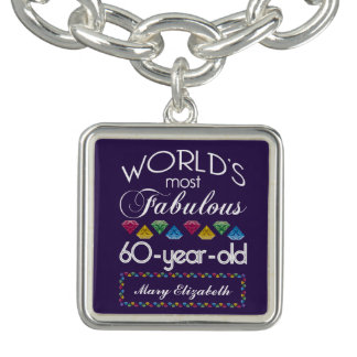 60th Birthday Most Fabulous Colorful Gems Purple Bracelet
