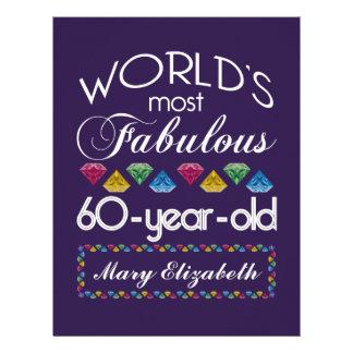 60th Birthday Most Fabulous Colorful Gems Purple Letterhead