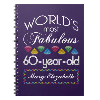 60th Birthday Most Fabulous Colorful Gems Purple Note Book