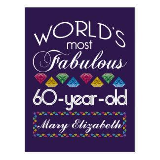 60th Birthday Most Fabulous Colorful Gems Purple Postcard