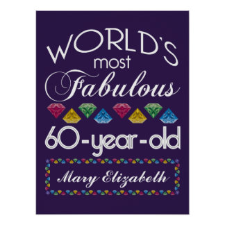 60th Birthday Most Fabulous Colorful Gems Purple Poster