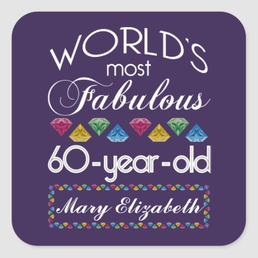 60th Birthday Most Fabulous Colorful Gems Purple Sticker