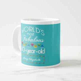 60th Birthday Most Fabulous Colourful Gem Giant Coffee Mug