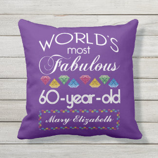 60th Birthday Most Fabulous Colourful Gems Purple Outdoor Pillow