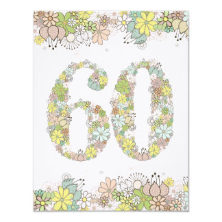 60th Birthday Natural Blooms Ladies Photo Invite