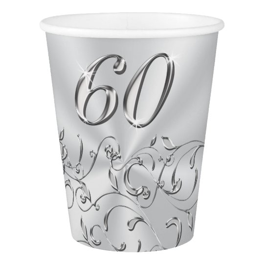 60th Birthday or 60th Anniversary Paper Cups Paper Cup