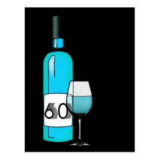 60th birthday or anniversary : wine bottle & glass postcard