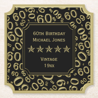 60th Birthday Party Black and Gold Theme Paper Coaster