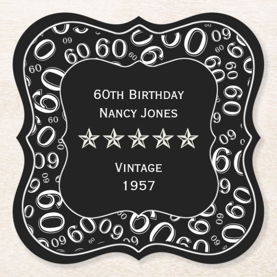 60th Birthday Party Black and White Theme Paper Coaster
