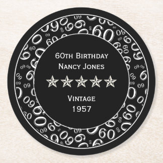60th Birthday Party Black and White Theme Round Paper Coaster