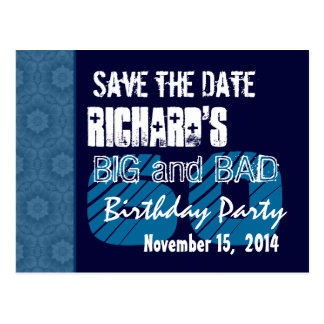 60th Birthday Party Blue Pattern Midnight and Navy Postcard